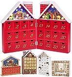 BRUBAKER Calendario de Adviento de Madera Reutilizable para Rellenar - Casa de Navidad roja con Juego de Pesebre e iluminación LED - Calendario de Navidad DIY 21 x 9 x 30 cm