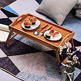 Tienda Eurasia Bandeja para Cama de bambú, mesita desayuno con Patas Plegables, Natural, 50x30x24 cm