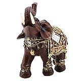 HEEPDD Estatua del Elefante de la Suerte, Lucky Feng Shui Grano de Madera Elefante Estatua Escultura Riqueza Estatuilla Regalo Decoración del hogar Colección(L)