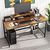 HOMEYFINE Escritorio de Computadora,Mesa de Computadora Portátil con Almacenamiento para Controlador,Mesa de Estudio para Oficina en Casa,140 x 60 x 73 cm (Acabado de Roble Vintage)
