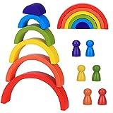 Bloques De Madera Arcoíris, Apilador De Arco Iris Juguetes Puzzle de Anidamiento, 6 Color Montessori Educativos Bloques De Construcción para Niño Niña Bebé