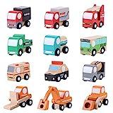 Zerodis 12 Piezas Juguete de vehículos, Madera Dibujos Animados Modelo de camión volquete Excavadora Coche de Juguete Aprendizaje temprano educativos Regalos para niños