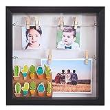 Gadgy  Marco de Foto 3D con Profundidad | 18 Pinzas | Caja Madera Portafotos 25x25x4 cm | Efecto Profundo | Decoración de Pared Originales l Blanco/Negro (Negro)
