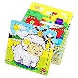 PROW Rompecabezas de madera 16 piezas niños cuadrados juguete Elefante Panda Cachorro Pequeño cordero Nave Tren Aviones Gansos Vacas Tigre educación segura aprendizaje juguetes (12 paquetes, cada 16)
