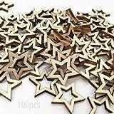 inherited 100 pcs Mini rebanadas de estrellas de madera, Madera Adornos Estrella, para Fiesta de Navidad DIY Decoración de Dispersión de Mesa de Manualidades