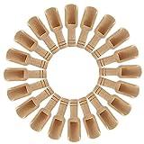 Tianhaik 20Pcs Mini Cucharas de Madera Pequeña Cuchara de Sal de Baño Cuchara de Madera para Especias Frijoles Arroz Té Harina Azúcar