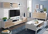 Miroytengo Conjunto Salon Comedor Estilo Moderno Mueble Modular Television Mesa Centro elevable aparador