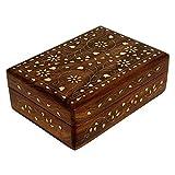 Ajuny - Joyero decorativo de madera tallada a mano con incrustaciones florales de latón, caja para bisutería
