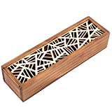 Estuche Cajas de Madera para Lápices Pluma, Plumier Vintage hueca para bolígrafo soporte cajas madera Tire lápiz organizador de caja de regalo para adultos escuela viaje(Mesh pattern)