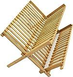 LEYENDAS ESCURREPLATOS. Escurridor de Platos con 2 Niveles de bambú Plegables (2 Niveles)