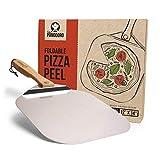 Chef Pomodoro - Pala para pizza de metal con mango de madera plegable para un fácil almacenamiento, pala gourmet para hornear pizzas y panes caseros. Medidas: 30,5 x 35,5 cm