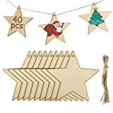 MELLIEX 40 Piezas Adornos de Madera de Colgantes de Navidad para DIY, Estrellas Colgantes de Madera con 40pcs Cordeles para Adornos de Navidad