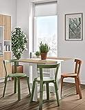 Symbiosis 2050a2134 x 00 contemporáneo-Mesa plegable de madera con 2 puertas abatibles, color blanco y roble natural 103 x 76 x 73,4 cm.