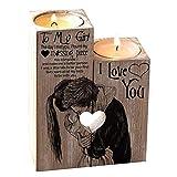 Coospy Candelero de Madera con Forma de Corazón Regalo Creativo de San Valentín Decoración del Hogar (sin Velas)