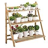 unho Escalera para Flores de Bambú Estantería Decorativa para Macetas Soporte para Plantas Exterior Interior Jardín con 3 Niveles 100 x 38 x 97cm