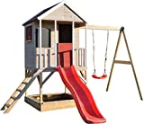 Wendi Toys M9   Casa de Madera para Jardin   Casa niños con tobogan de plastico y Columpios   Juegos de para Exteriores   Parque Infantil Jardín   Jugar Aire Libre Diversión   3-7 años