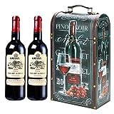 ITODA - Caja de vino rojo de madera + piel caja de vino, caja de almacenamiento de vino portátil, caja de regalo de cumpleaños, boda, accesorio vino, decoración para uno/dos botellas de vino