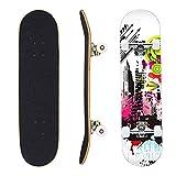 Patineta de 7 Capas de 31 'x 8' Pro Complete Skate Board Madera de Arce Longboards al Aire Libre para Adolescentes, Adultos, Principiantes, niñas, niños, niños (Galaxia)