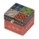 Casa Moro | Caja de joyería oriental Ananda 7,5x7,5x6,5 cm (WxDxH) Mini joyero pintado a mano Caja de joyería de madera pequeña Idea de regalo original para la novia mujer para la Navidad | MA20-14