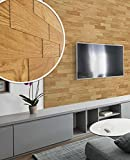 wodewa Paneles de Madera para Pared Roble Natural I 1m² Revestimiento de Paredes 3D Panel Decorativo Madera Interior Sala de Estar Cocina Dormitorio Mural I Engrasado