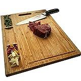 NIUXX Tabla de Cortar, Tablas de Cortar de Bambú Grande, Tabla de Cocina para Verduras Carnes Frutas, Tabla de Cortar con 3 Compartimentos Incorporados y Ranuras para Jugo,43x32x2cm