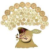cococity Botones Redondos De Madera Naturales con 4 agujeros para coser y decoraciones de fabricación 15mm 20mm 25mm