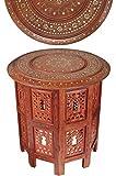 Marrakesch Orient & Mediterran Interior Mesa marroquí, Consola Auxiliar de Madera Caglanur 45cm Redonda - Mostrador de té Oriental - Bandeja Plegable es Oriental en marrón, como Mesa de luz