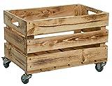 Caja de fruta estable con ruedas y asas, caja de manzanas y vino del antiguo país, natural, dimensiones aprox. 54 x 35 x 35 cm (flameado con ruedas)