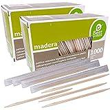 Best Products Palillos de Dientes Madera,Palillo Higienicos,Palito para Cóctel,Aperitivos,Barbacoa,Fruta,Juego de 2000,Enfundados individual,6.5 cm(Palillos de Dientes, 6.5 cm / 2000 pcs)