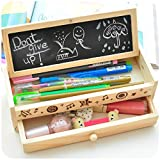 Shager Caja de lápices multifuncional de madera con diseño de flores para estudiantes, niños (20,5 x 8 x 6 cm)