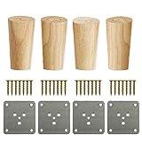 4 patas de repuesto para muebles de madera maciza, patas de muebles de mesa de café, sofás, armarios bajos