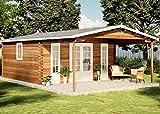 Casa de jardín de Alpholz Nyborg-44 de madera maciza | Cobertizo con 44 mm de grosor de pared | Caseta de madera para jardín incluye material de montaje | Cobertizo Tamaño: 500 x 800 cm | tejado