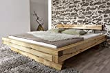 Cama de madera Jakob de XXS, 200 x 200 cm, de roble natural, barnizada, cama maciza en diseño natural, cabecero alto dividido para su dormitorio