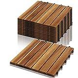 VINGO Baldosas de madera en acacia, Set de 22 Decking Tiles Interiores y Exteriores, Entrelazadas, suelo con estructura de drenaje, para Patio Balcón Terraza Jardín(Model B   2m²)