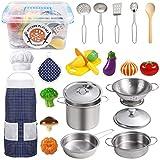 EFO SHM Juguetes de Cocina para niños Accesorios, 23 Piezas Juguetes de Chef para Niños, Cocina de Acero, Vegetales para Cortar, Delantal y Gorro De Cocinero, Apto para niños Mayores de 3 años