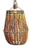Lámpara de techo, con cuentas de madera tonos marrones, artesanales, diseños únicos.