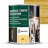 BARNIZ TINTE INTERIOR BRILLANTE, (6 COLORES), Barniz madera, Protege la madera, Decora y embellece la madera. (750 ml, PINO)