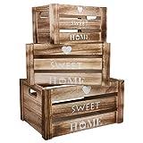 Cajon Madera Almacenaje - Set de 3 Cajas Blanqueadas con Recorte de Asa, Diseño Corazón Palabra Sweet Home - Cajas Apilables Madera - Cajas Abiertas para Organizar, Decoración del Hogar, Sala
