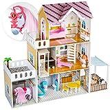 Kinderplay Grande Casa de Muñecas con Ascensor - Casa de Madera con Establo y Caballo, Iluminación LED con Muebles y Accesorios Incluidos, 3 Pisos, para muñecas de 120.5 cm, GS0022