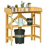 Outsunny Mesa de Plantación Plegable Mesa de Jardinería de Madera con Placa de Zinc y Estante para Jardín Terraza Balcón 85x44x89 cm Amarillo