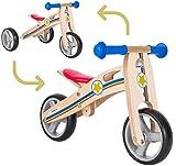 BIKESTAR 2 in 1 Bicicleta sin Pedales Madera para niños y niñas Bici Ajustable 7 Pulgadas | Bicicleta y Triciclo Mini a Partir de 1-1,5 años | 7' Edición Sport Azul