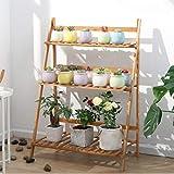 unho Escalera para Flores de Bambú Estantería Decorativa para Macetas Soporte para Plantas Exterior Interior Jardín con 3 Niveles 70 x 38 x 97cm