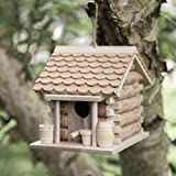 garden mile Casa colgante de corcho de vino y madera para el jardín | Caja de anidación de pájaros única para decoración de jardín | Cabina de hotel para pájaros silvestres
