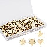 Juego de 300 mini adornos de madera con forma de flor natural en forma de corazón de madera con forma de estrella para álbumes de recortes