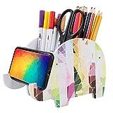 Portalápices de Madera Elefante Organizador de Escritorio Colores con Soporte para Teléfono Celular Multifuncional Soporte para Bolígrafo de Escritorio compartimentos dobles