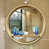 Espejo - Espejo de baño, Espejo de vanidad Redondo de Madera Maciza, con Estante Espejo Redondo montado en la Pared (Color: Natural, Tamaño: Diámetro 50cm)