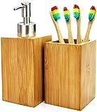 Set Accesorios de baño: dispensador de jabón + Vaso Porta cepillos + 4 cepillos de Dientes de bambú. Producto Ecológico, Natural y sin BPA