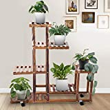 Kaigelu888 Soporte para Plantas, Estantería Decorativa Macetas Estanteria Madera para Plantas para estanterias para maceteros Decorativos Muebles Jardin Exterior Balcon (4 Rondas 98 * 97 * 25 cm)