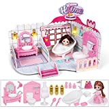 RuiDaXiang Casa de muñecas, baño con Muebles, iluminación, Mini muñeca.Juguetes de casa de muñecas para niñas (Baño-Rosado)
