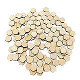 VALICLUD 100 piezas de madera sin acabar hexagonal, cortadas en panal de abeja, piezas de madera, azulejos de mosaico, discos de madera para bricolaje